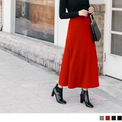 1025新品 素色壓紋長裙