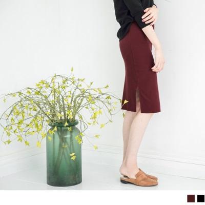 1011新品 素面壓紋下襬開衩中長裙