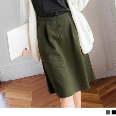 1026新品 素色排釦打褶中裙