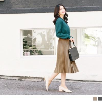 1025新品 素色絨布鬆緊百褶中長裙