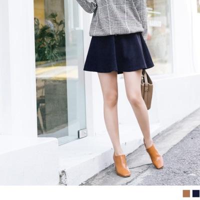 1025新品 素色排釦傘狀短裙