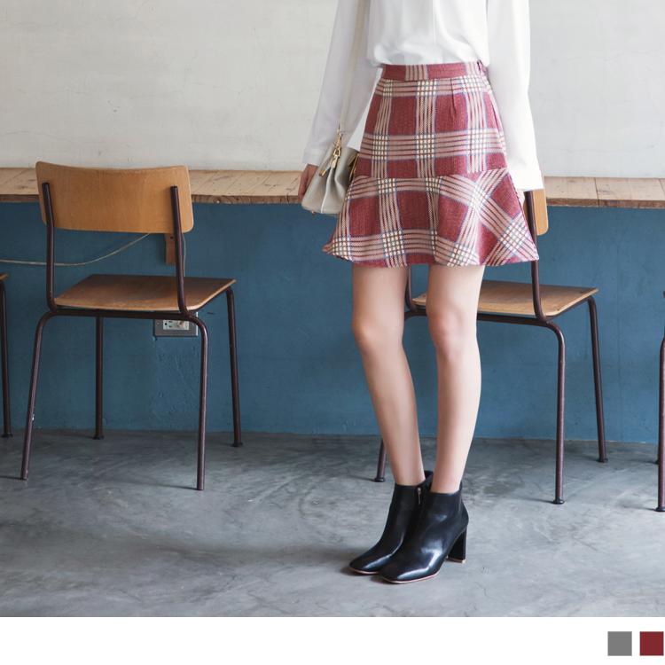 拼色英倫格紋荷葉高腰裙