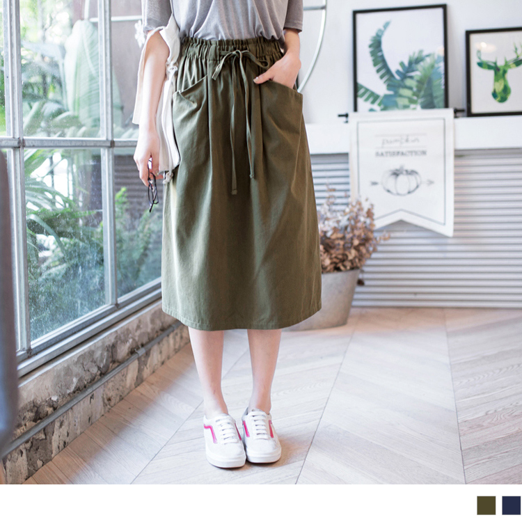 高含棉垂坠斜型口袋腰松紧绑带中长裙