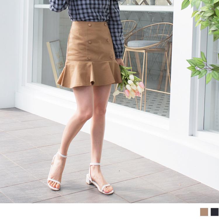 鱼尾造型高含棉排釦短裙
