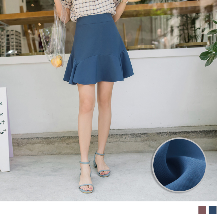 饱和色系质感侧拉鍊不规则荷叶短裙