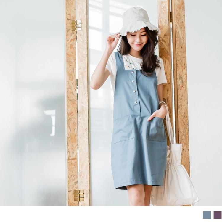 前排釦雙口袋設計純色高含棉吊帶背心裙