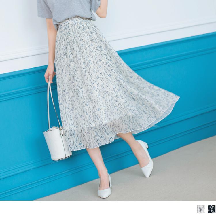 滿版印花細褶中長圓裙