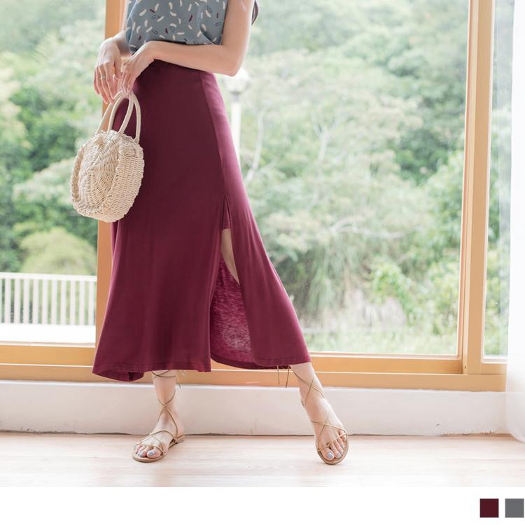 柔软质感侧䙓开衩设计素面长裙
