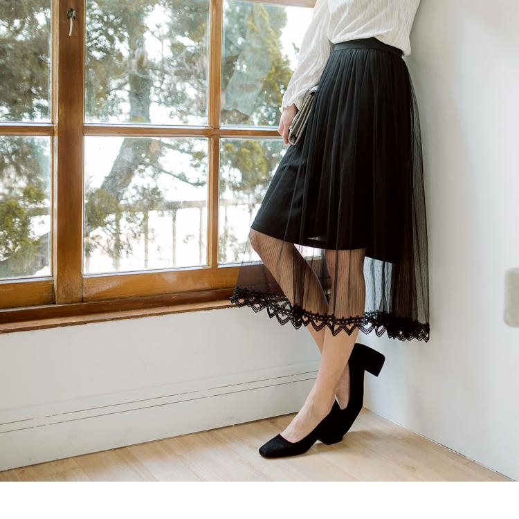 蕾絲滾邊透膚網紗中長裙
