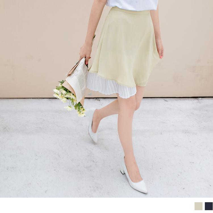 裙襬百褶拼接純色雪紡傘襬短裙