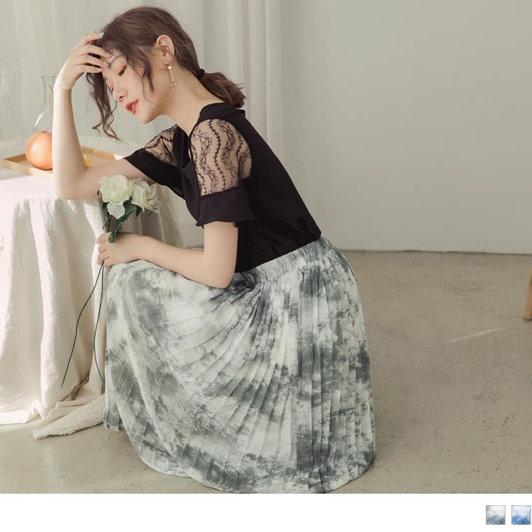 腰鬆緊渲染感百褶雪紡中長裙