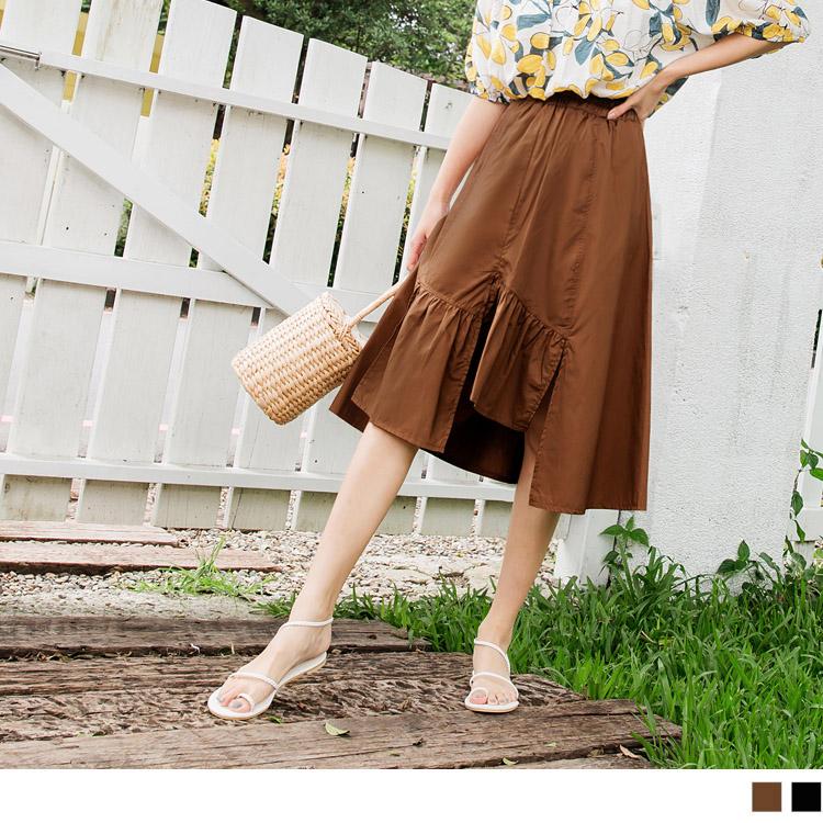 高含棉腰鬆緊不規則拼接抽皺裙襬中長裙
