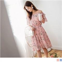 0811新品 氣質滿版花朵圖案挖肩腰圍鬆緊短袖洋裝.2色
