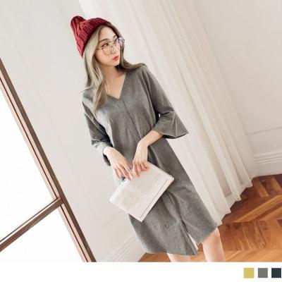 1006新品 高含棉下襬不規則開衩素色喇叭袖洋裝