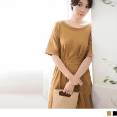 素色高含棉側開衩附綁帶洋裝‧2色