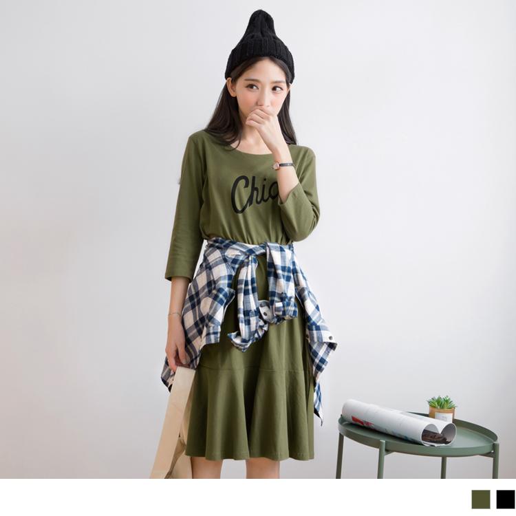高含棉英文印字寬鬆洋裝
