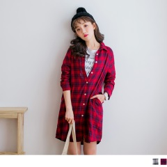 高含棉長版格紋襯衫/洋裝/外套