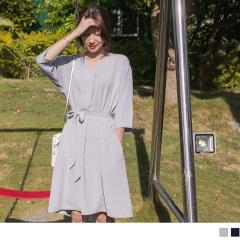 素面質感附腰間綁帶V領五分袖雪紡洋裝.2色