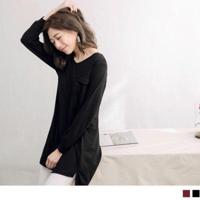 0920新品 台灣製造雙口袋V領長版上衣/洋裝