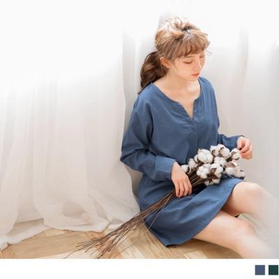0921新品 素色V領蝴蝶結綁帶長版上衣