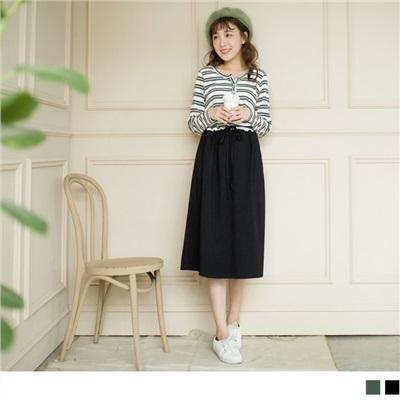1003新品 拼接橫條紋長版裙洋裝