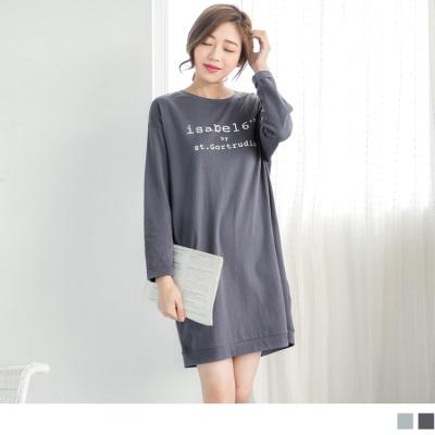1011新品 高含棉圓領字母長版上衣/洋裝