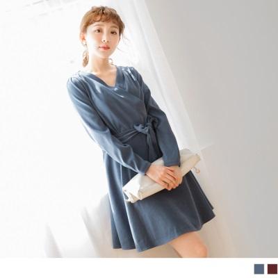 0928新品 質感V領蝴蝶結綁帶素色洋裝