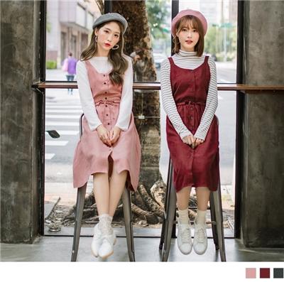0925新品 無袖蝴蝶結素面麂皮洋裝/上衣