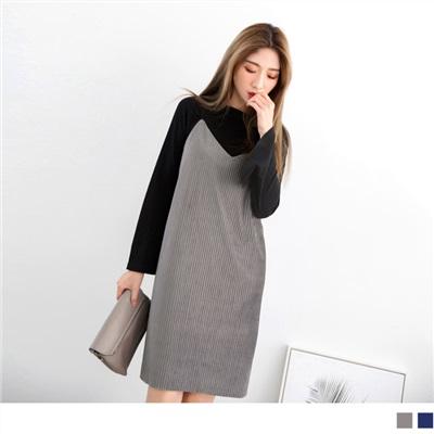 1012新品 光澤絨布素色坑條連身裙