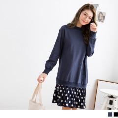 0919新品 素色縮口上衣拼接圓點裙襬高含棉洋裝