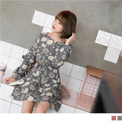 滿版蒲公英抽繩高含棉洋裝