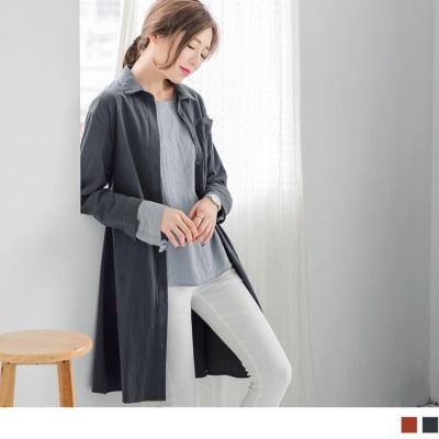 1025新品 附綁帶素色洋裝/外罩衫