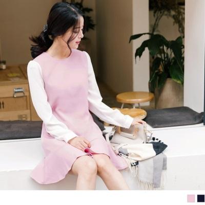 1025新品 袖子拼接魚尾裙襬圓領洋裝
