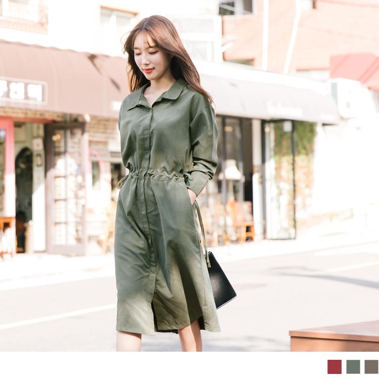韓劇男友激似款~蜜桃絨縮腰襯衫洋裝