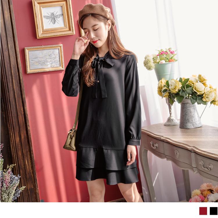 領綁帶半開襟雙層荷葉裙襬長袖洋裝