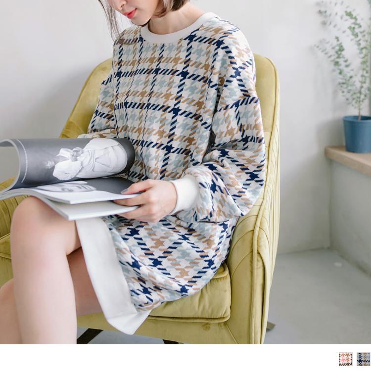 拼色格花紋絨布長版大學T衛衣洋裝