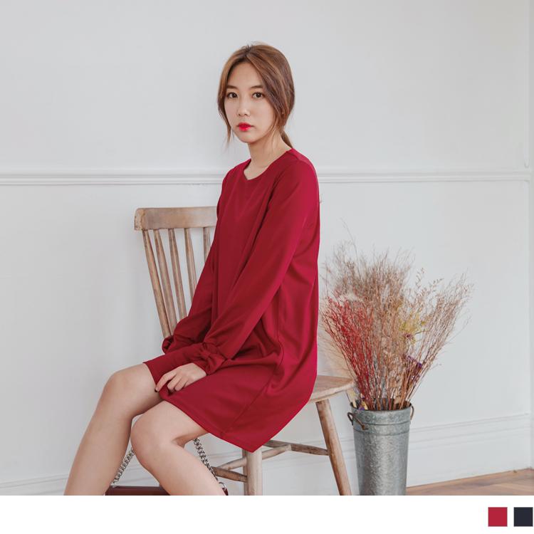 蝴蝶結造型袖純色長版洋裝