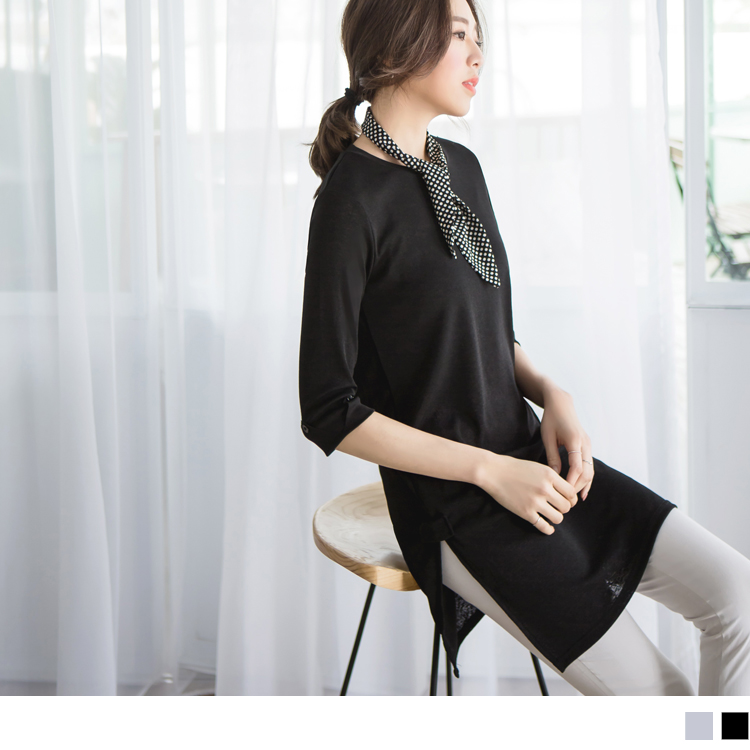 舒適側襬開衩袖反褶上衣