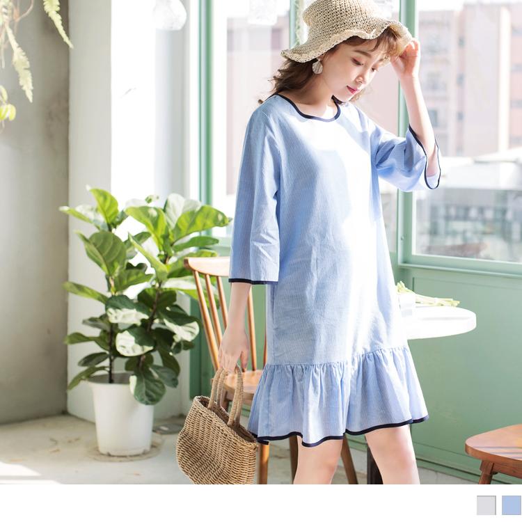 高含棉直條紋滾邊荷葉裙襬寬袖洋裝