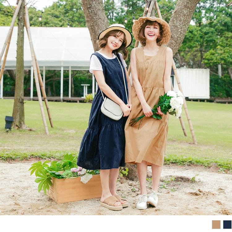 竹节棉无袖长版拼接裙娃娃洋装