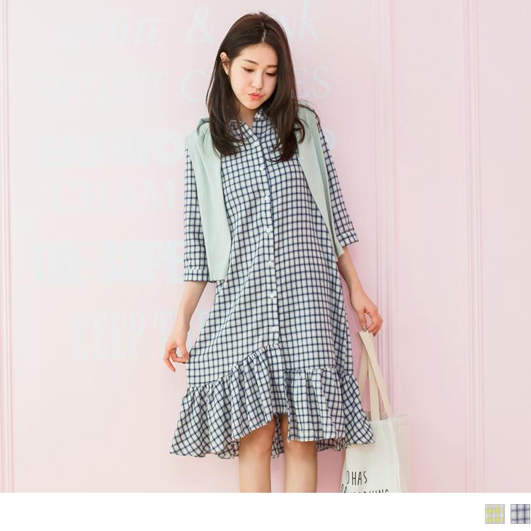 高含棉格子排釦衬衫领荷叶裙䙓五分袖洋装