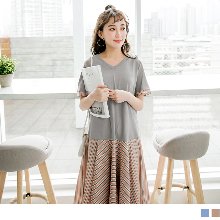 高含棉V領拼接配色直條紋洋裝