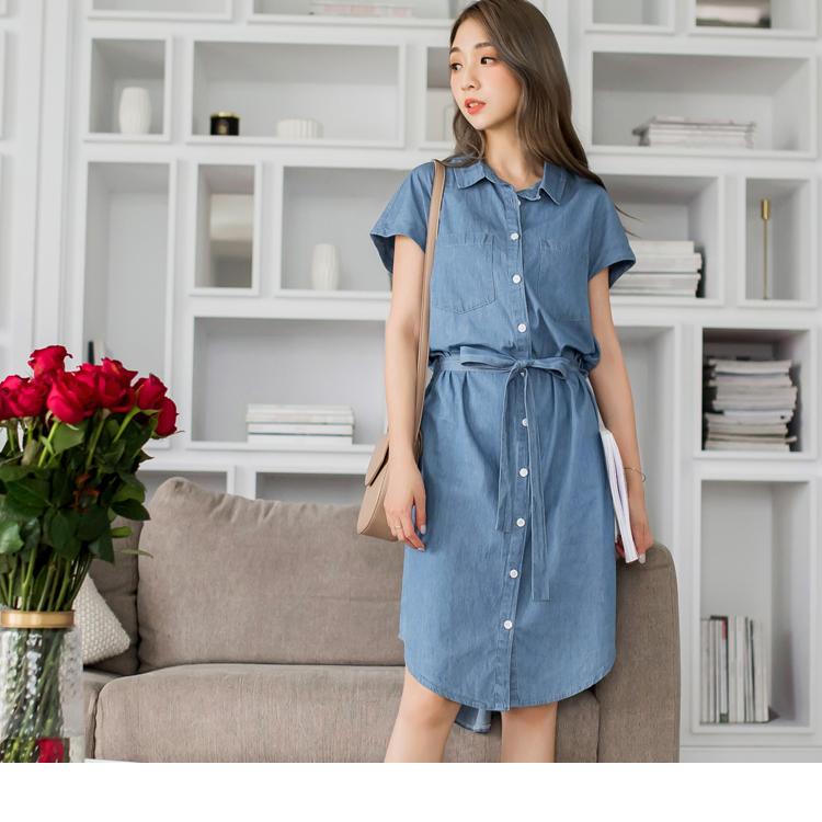 高含棉排釦修身腰圍綁帶長版洋裝