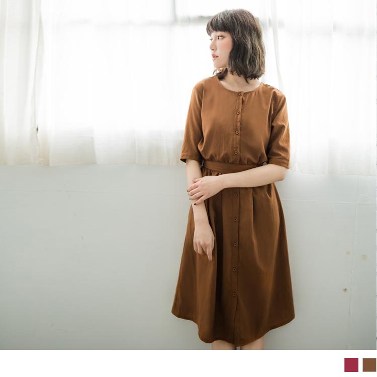 附綁帶縮腰短袖襯衫洋裝