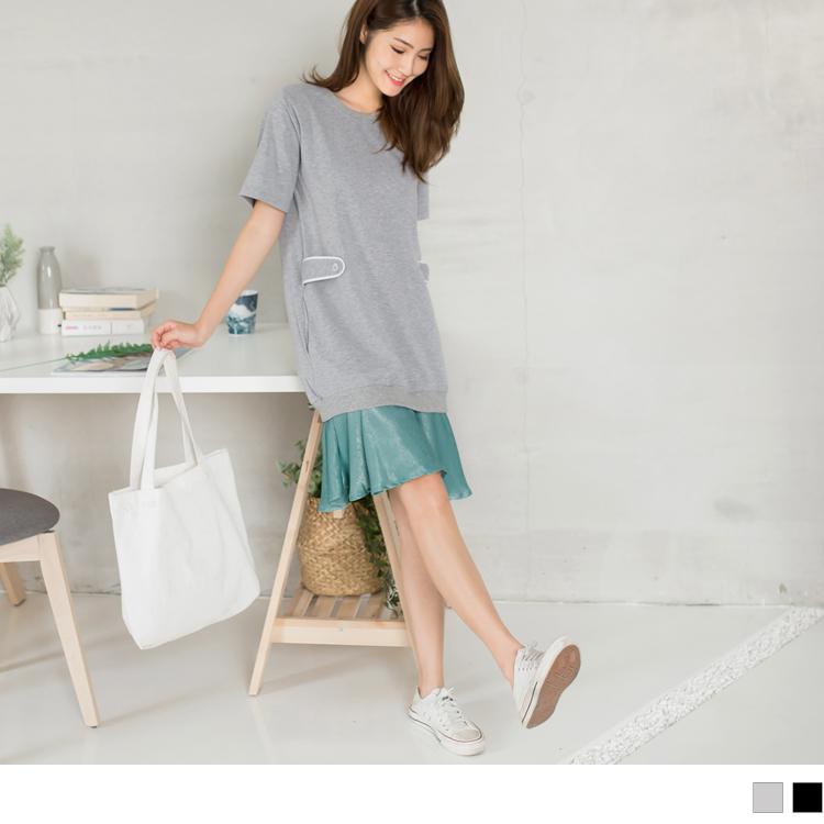 高含棉造型拼接絲綢裙襬長版上衣