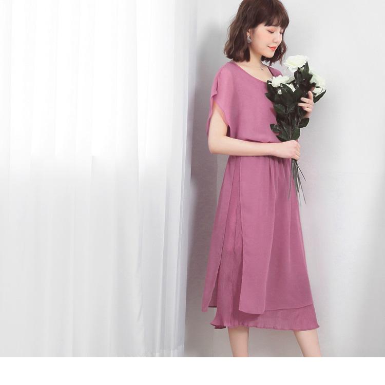 臧芮軒。乾燥玫瑰雙層雪紡壓褶側釦縮腰洋裝