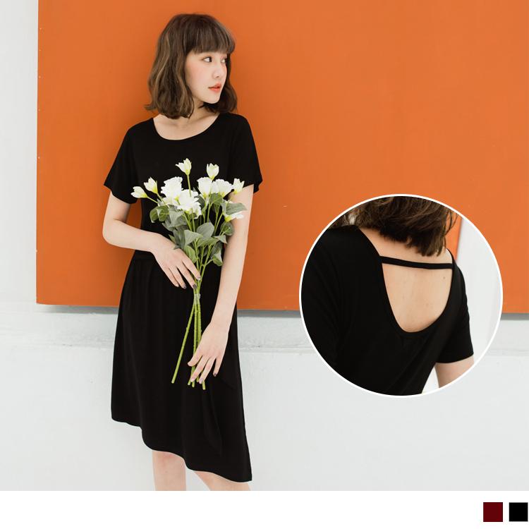 美背設計腰帶洋裝