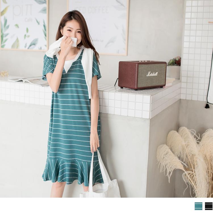 橫條紋羅紋圓領荷葉裙襬長版上衣