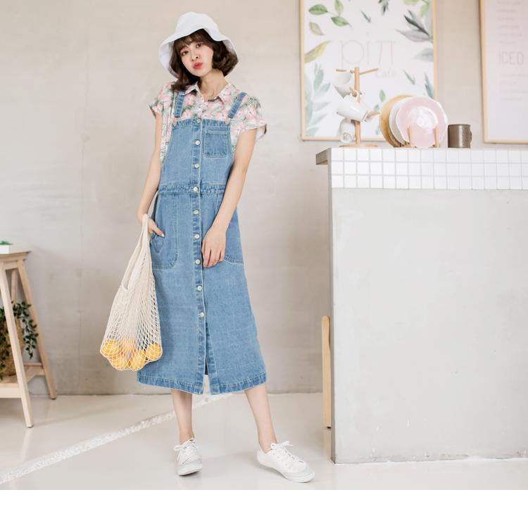 親子系列~前排釦設計高含棉牛仔吊帶長裙