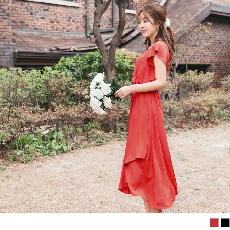 婚禮系列~飄逸感交叉裙襬純色圓領/一字領雪紡長洋裝